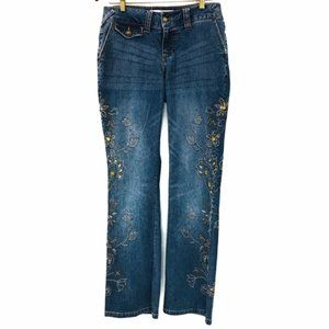 Mixit rhinestone embroidered boot cut jeans size 6